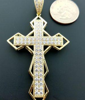 10k cross pendant w/ CZ stones