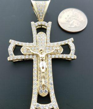 10k crucifix pendant w/ round CZ stones