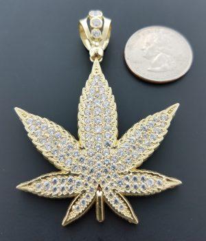10k leaf pendant w/ CZs